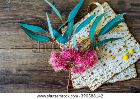 Traditional Passover matzoh for Jewish Pesach celebration. - stock photo