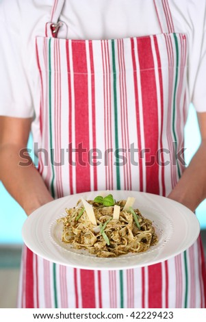 traditional past with pesto sauce being served, narrow focus - stock photo