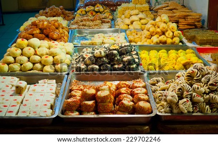 Traditional pastry stall in Xian, Shaanxi, China - stock photo