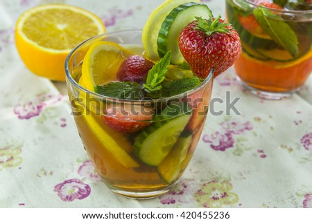 Traditional Pimms cocktail with lemonade