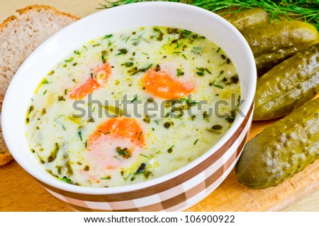 Traditional polish cucumber soup in the bowl