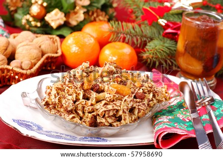 traditional  polish noodles with poppy seeds , dried fruits and honey as dessert  for christmas eve