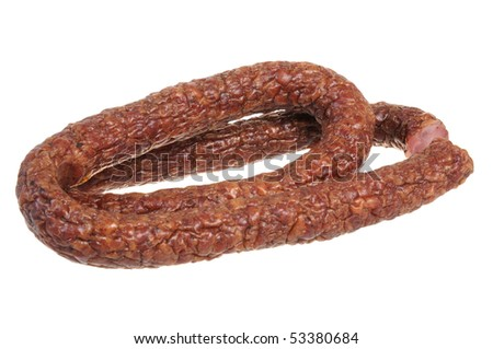 Traditional Polish sausage isolated on hite background