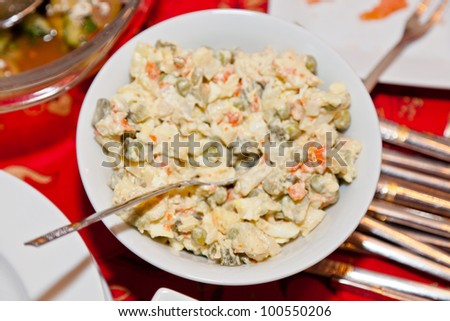 Traditional Polish vegetable salad with eggs and potatos.