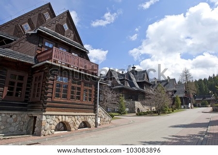 Stock images similar to id 124359973 ancient mansion decorated with - Traditional polish houses wood mastership ...