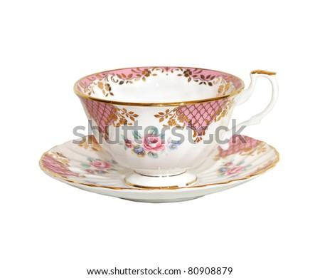 Traditional porcelain teacup isolated with clipping path included - stock photo