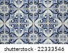 Traditional Portuguese azulejos - painted ceramic tilework - stock photo