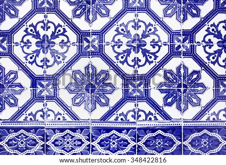 Traditional Portuguese ceramic wall tiles found in many places in Lisbon.