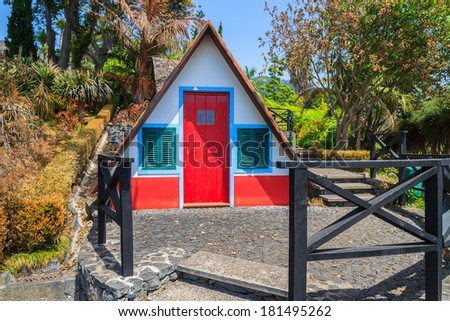 Traditional Portuguese house in Monte Tropical Gardens, Madeira island, Portugal  - stock photo