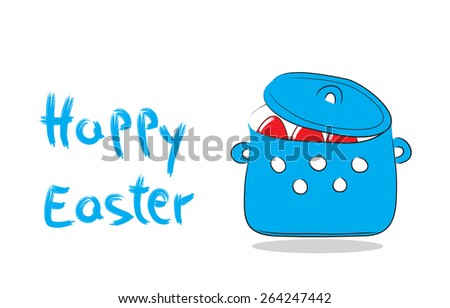 Traditional pot with Easter eggs  - stock photo