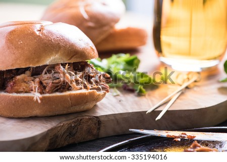 traditional pub meal, pulled pork - stock photo