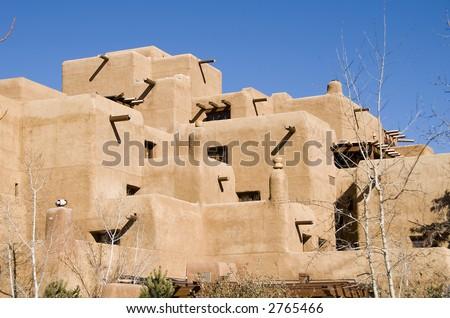 Traditional pueblo architecture of Santa Fe, New Mexico - stock photo