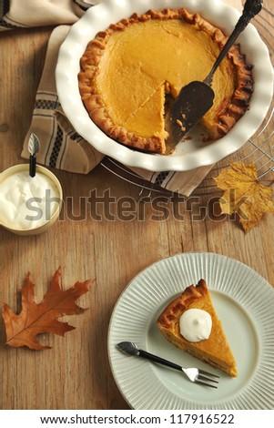 Traditional Pumpkin Pie - stock photo