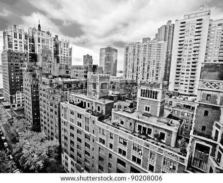 Traditional red brick apartments in Manhattan New York - stock photo