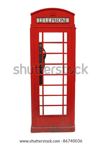 Traditional red British telephone booth isolated on white background - stock photo