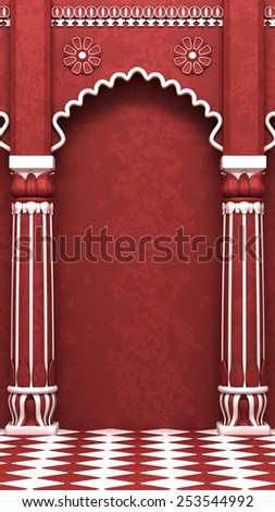 Traditional Red Indian Column Arc - stock photo