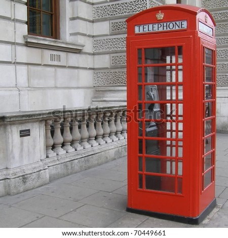 Traditional Red Telephone Box in London, UK - stock photo