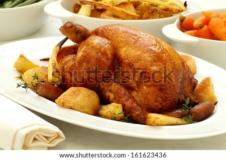 traditional roast chicken with vegetables