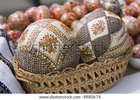 Crowded romanian easter arrangement traditional towelbag stock traditional romanian easter painted eggs useful image for a travel brochure about romania negle Choice Image