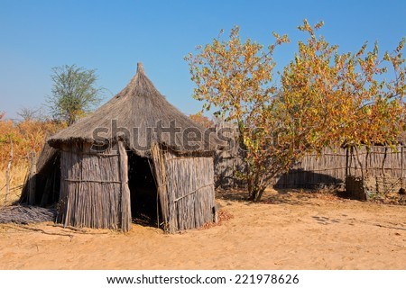 Traditional rural African reed and thatch hut, Caprivi region, Namibia  - stock photo