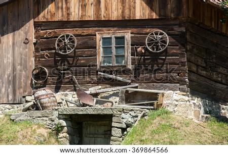 Traditional rural farmhouse in Poland - stock photo