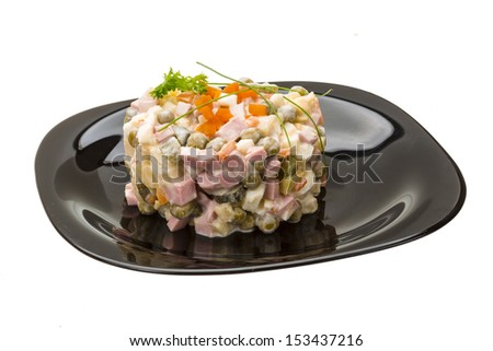 Traditional Russian Salad Oliver isolated