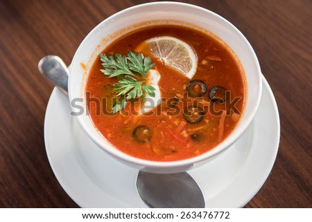 Traditional russian soljanka or saltwort soup - stock photo