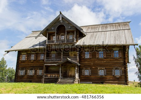 Traditional Russian wooden house on the island Kizhi. Karelia, Russia