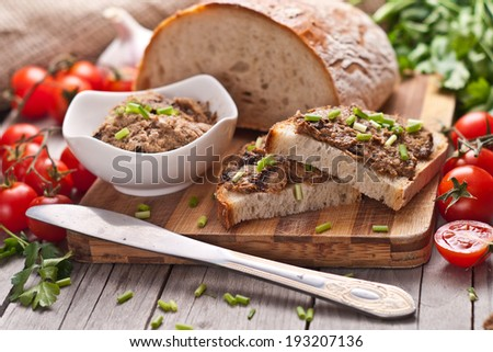 traditional rye bread with pate  - stock photo