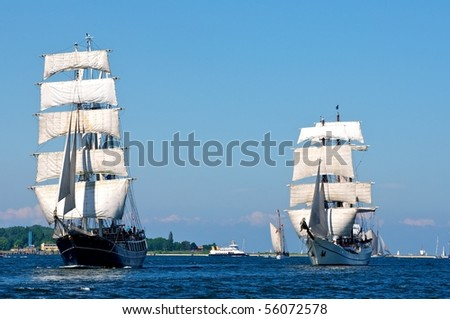 """traditional sailing-ship in Kiel, Germany, on the """"Foerde"""", part of the baltic-sea - stock photo"""