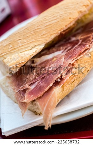 Traditional sandwinch of ham at Trevelez at La Alpujarra, Andalusia, Spain - stock photo