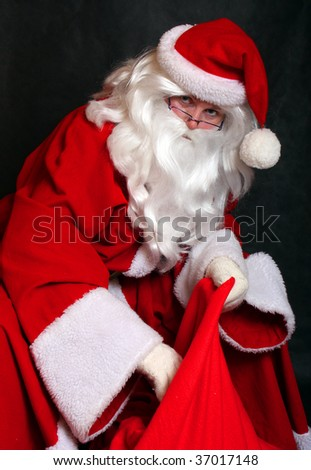 Traditional Santa Claus with a sac