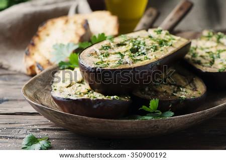 """Traditional sardinian dish eggplant """"Alla sassarese"""", selective focus - stock photo"""