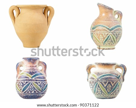 Traditional Sardinian earthen jugs isolated over white - stock photo