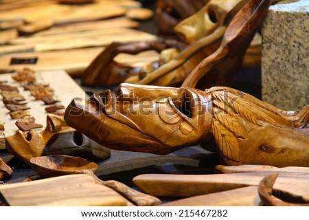 traditional sardinian wooden  handmade mask - stock photo