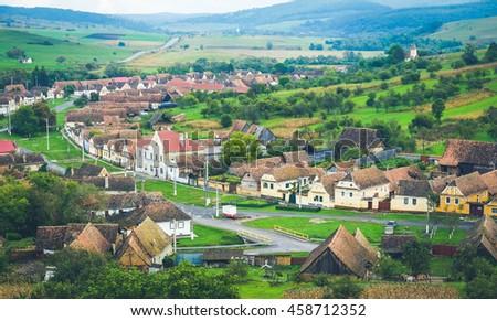 Traditional Saxon village in Transylvania, Romania - stock photo
