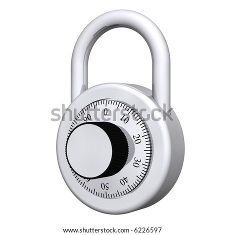 Traditional school combination lock isolated on white