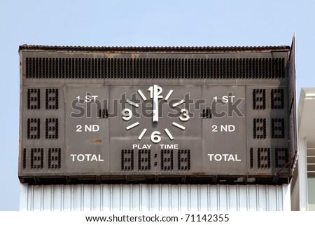 traditional score board at stadium - stock photo