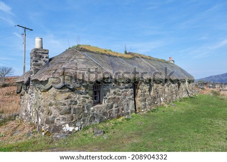 Traditional scottish thatched croft house, Isle of Ulva, Scotland
