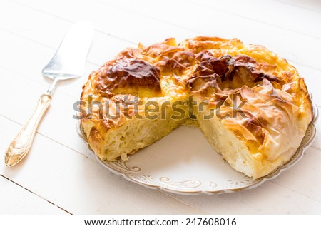 Traditional Serbian cheese pie on the plate,selective focus  - stock photo