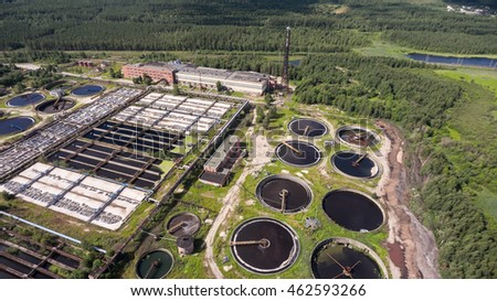 Traditional sewage treatment plant with all processes that clear a lot of waste-waters from industry