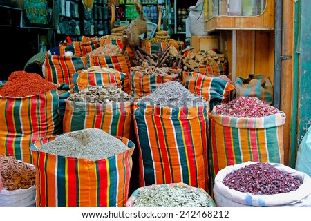 Traditional shop at Khan el Khalili market - stock photo