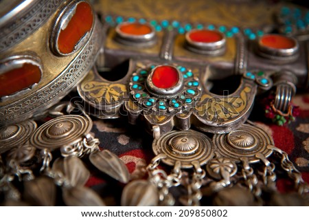 traditional silver and bronze accessory and jewelry - stock photo