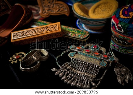 traditional silver and bronze accessory and jewelry and other items - stock photo