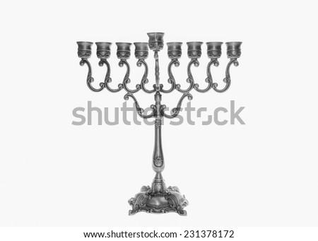 Traditional silver Jewish Menorah - stock photo