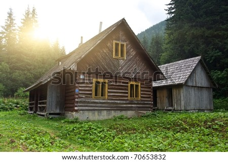 Traditional Slovakian Timber Houses with Wooden Roof  with a sun shining and rays.