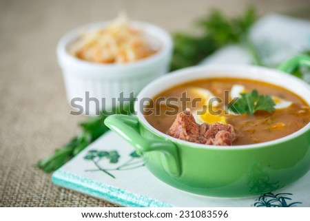 traditional soup made from sauerkraut on a plate