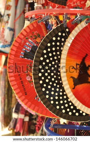 traditional Spanish fans in a market in Seville