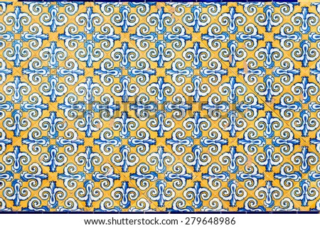 Traditional spanish tiles on Central Market facade in Valencia - stock photo