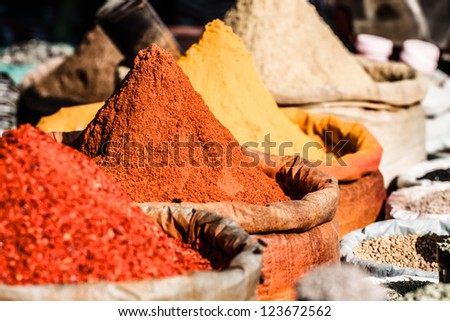 Traditional spices market in India. ( HDR image ) - stock photo